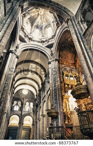 interior of cathedral of Santiago de Compostela,The final destination ...
