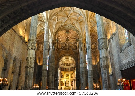 Interior of Church at Jeronimos Monastery - stock photo