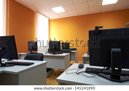 interior of classroom with computers
