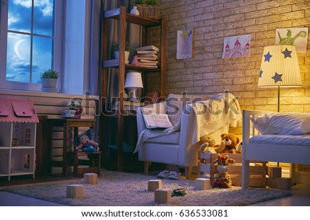 Interior of colorful kids bedroom for child girl.