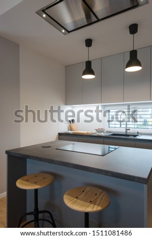 Interior of contemporary kitchen with built-in appliances #1511081486