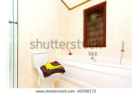 Interior of contemporary style bathroom with bathtub