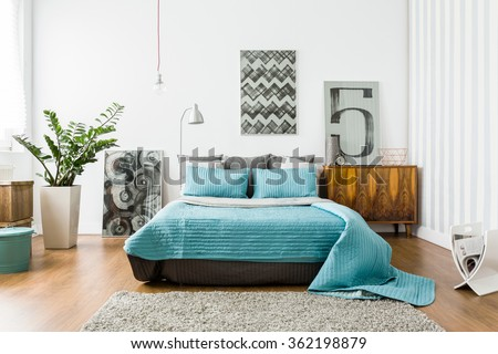 Interior of cozy bedroom in modern design #362198879