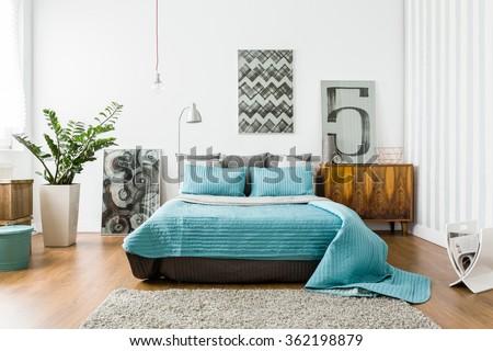 interior of cozy bedroom in...