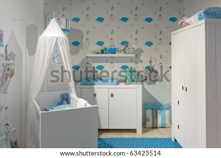 interior of designed in white color baby room