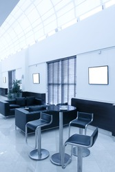 interior of dining room in business office hall
