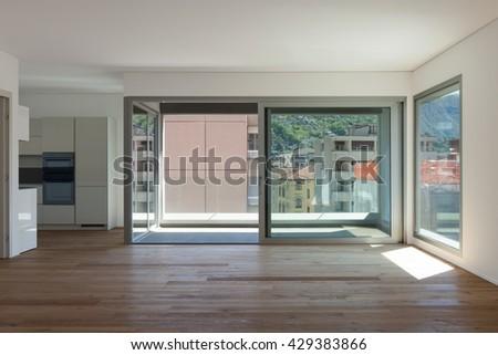 interior of empty apartment room with balcony sliding door ez canvas