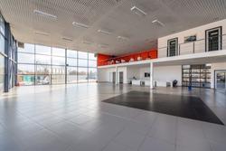 Interior of empty car dealership