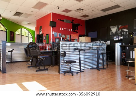 Interior Of Empty Tattoo Parlor #356092910