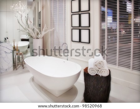 interior of empty white bathroom