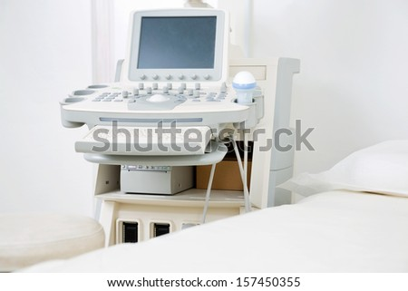 Interior of examination room with ultrasonography machine in hospital