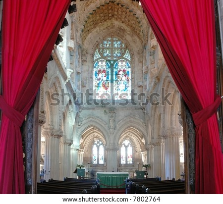 interior of famous Roslyn chapel known thanks to a bestselling novel