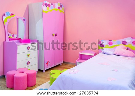 Interior of girls room all in pink