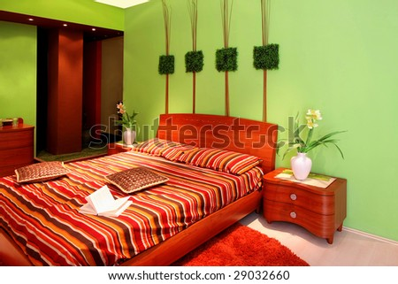 Interior Of Green Bedroom With Big Bed Stock Photo 2903