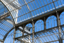 interior of greenhouse in garden with transparent glass roof