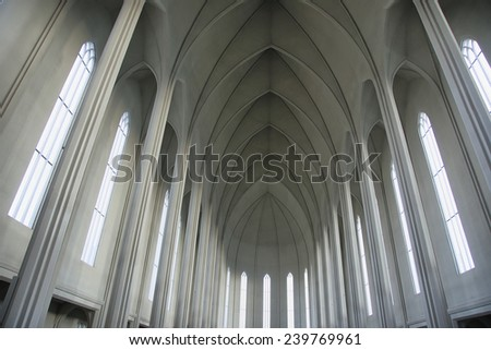 Interior of Hallgrimskirkja Cathedral, the Lutheran (Church of Iceland) #239769961