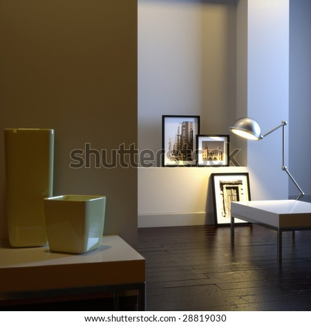 Interior of home with chrome lamp and frames (3D render)