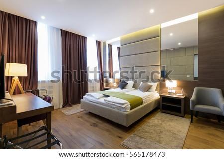 Interior of hotel apartment, bedroom #565178473
