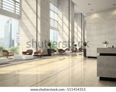 Interior of hotel reception 3D illustration Zdjęcia stock ©