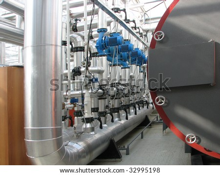 Interior of independent boiler average capacity. Pump group