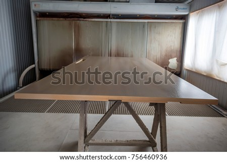 Interior of joinery with wood staining equipment #756460936