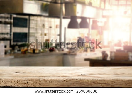 interior of kitchen in restaurant and napkin and desk space  #259030808