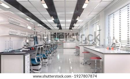 Interior of laboratory workplace. 3d illustration