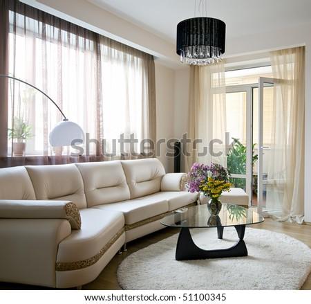 Interior of light living room