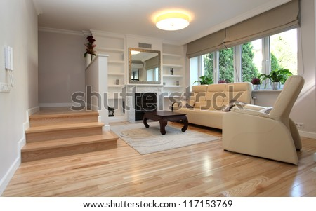 Interior of living room in luxurious house