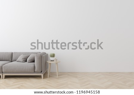 Interior of living room modern style with  fabric sofa, side table and empty white wall on wood floor