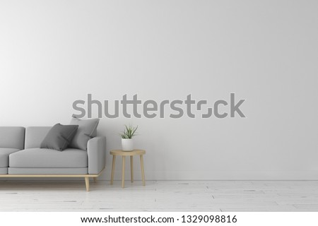 Interior of living room modern style with grey fabric sofa,wooden side table and white wall color on white wooden floor. 3d render