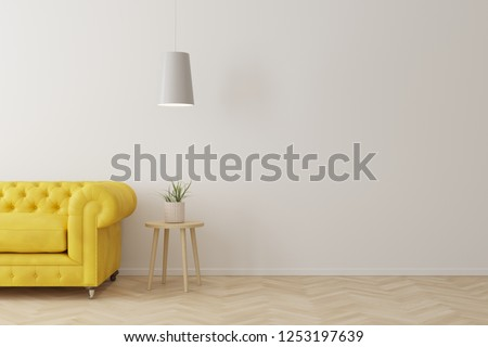 Interior of living room modern style with yellow sofa,wooden side table and white ceiling lamp on wooden floor. #1253197639