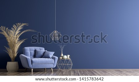 Interior of living room with coffee table and blue armchair, home design 3d rendering