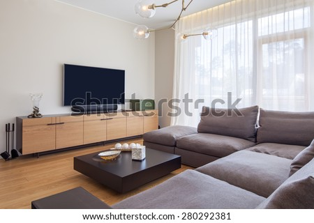 Interior of living room with TV