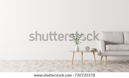 Interior of living room with wooden triangular coffee table and  grey sofa, scandinavian style, 3d rendering