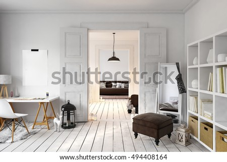 Interior of loft office and living space with tall mirror in corner. 3D rendering #494408164