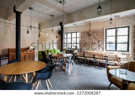 Interior of loft restaurant