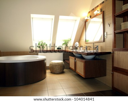 Interior of luxurious bathroom in the attic