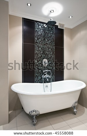 Interior of luxury bathroom with expensive bath and shower