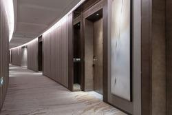 Interior of luxury hotel corridor