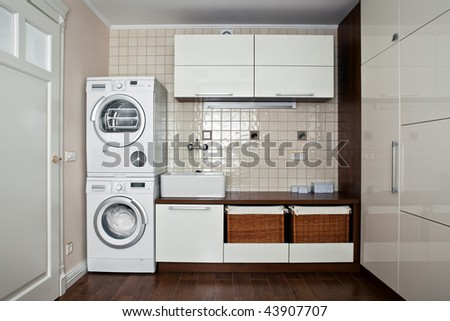 Interior of luxury laundry room