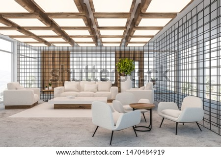 Interior of luxury office lounge area with white sofas and armchairs near coffee tables and coworking space with computers in background. Wooden and metal walls. 3d rendering