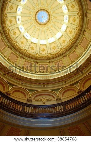 Interior of main rotunda and dome; California State Capitol Building; Sacramento, California