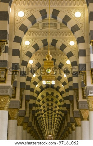 Interior of Masjid (mosque) Nabawi in Al Madinah, Saudi Arabia.