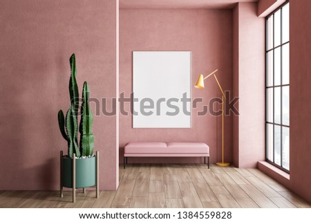 Interior of minimalistic living room with pink walls, wooden floor, large window, pink bench with vertical poster above it and stylish floor lamp. Concept of advertising. 3d rendering mock up