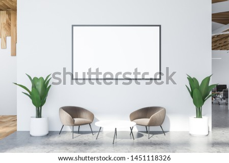Interior of minimalistic office waiting room with white walls, concrete floor, two gray armchairs near coffee table and horizontal mock up poster frame. 3d rendering