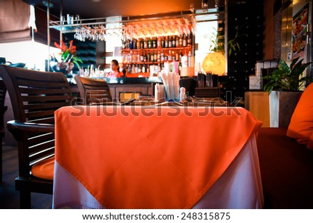 Interior of modern and beautiful bar or restaurant. Blurred background