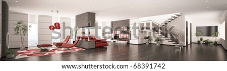 Interior of modern apartment living room hall panorama 3d render