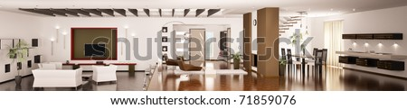 Interior of modern apartment living room kitchen hall panorama 3d render