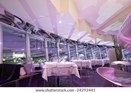 interior of modern bar and restaurant, with a pink environment